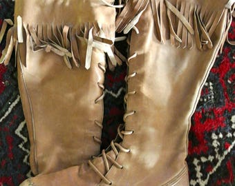 Moccasin leather lace up knee high fringed flat boots - inside zip, soft leather