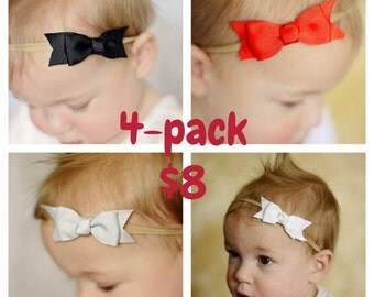 4 pack of nylon bows, U CHOOSE colors, headband set 1 size fits all, comfy baby newborn girls hair