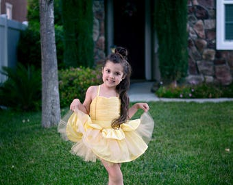 Boutique Handmade Belle, Beauty and the Beast inspired 3pc set with complimentary Tutu. Birthdays, Pageants, Costume. Sizes 2T-10