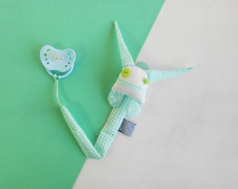 Pacifier clip soft doll | ZUPETA | cute monster pacifier holder | mint and white soother hanger| dummy doll | designer baby accesory