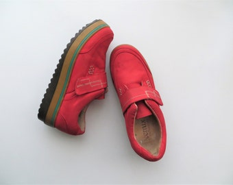 90s Platform Sneakers Red Canvas Velcro Shoes Club Kid Women's US Size 7