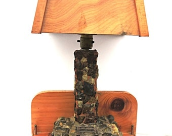 Table Lamp and Shade Rustic Fireplace Desk Lamp with Shade Bohemian meets Outdoorsman