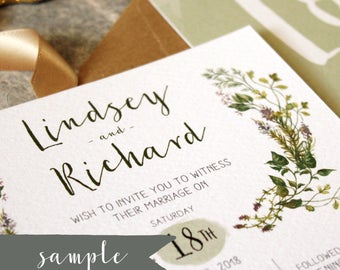 SAMPLE || Herb Garden Wedding Invitation