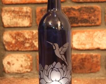 Hummingbird Lotus Wine Bottle Lantern (Stand & Candle Included) Home Decor, Eco, Housewarming, Wedding, Hostess, Christmas, Recycle