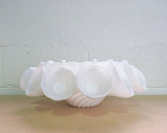 Milk Glass Swirl Punch Bowl