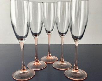 vintage pink stem champagne flutes crystal set of 5 glam barware