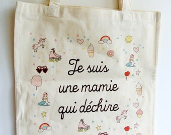 "Tote bag ""I'm a grandma that rocks"" - day of mothers Grandma Grandma gift gift gift"