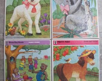 "Vtg Lot--4 Rainbow Works Frame Tray Puzzles Large 11.5 x 14.5"" Lamb/Koala/Pony+"
