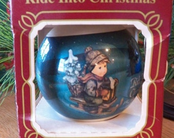 M. J. Hummel Glass Ball Ornament~1983 Ride Into Christmas~First Annual Edition