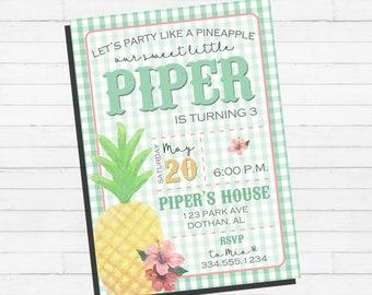 Pineapple Birthday Invitation | Luau Hawaiian Birthday | Pineapple Luau | Digital Invitation
