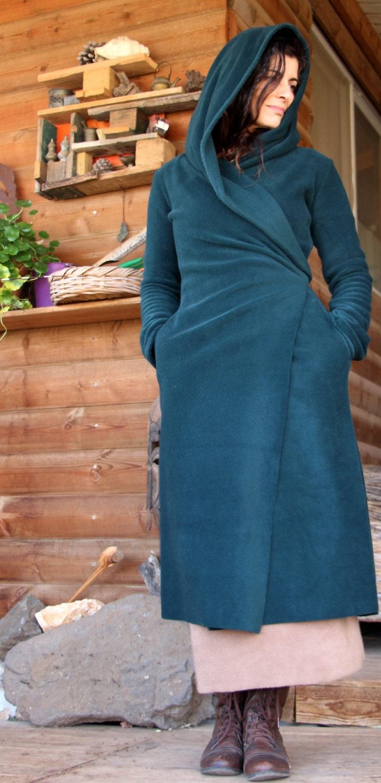 Fleece sweater green winter hooded sweater fairy long