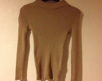 Funnel Neck Fitted Thick Knit Camel Tan Neutral Jumper Sweater Minimal