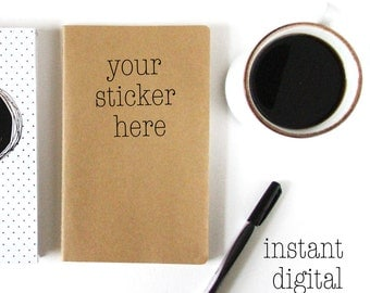 Stock Photography - Digital Download - Mock Ups - Digital Background - Journal Sticker Mock Up - 300 DPI JPG - Instant Download