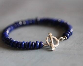 Lapis Lazuli, 6mm Gemstones, Faceted Rondelles, Gemstone Bracelet, Layering Bracelet, Beaded Bracelet, Mossy Creek