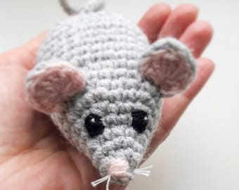 Crochet Mouse, Crochet Toy, Mouse Toy, Kids Toy, Cat's Toy, Kittens Toy, Grey Mouse, Stuffed Toy, Baby Toy, Animal Toy, Handmade Toy, Rattle