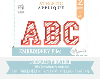 "2"" and 2.5"" Athletic Applique Embroidery Font/Alphabet for Embroidery Machines, College Applique, Varsity Athletic Applique, BX font"