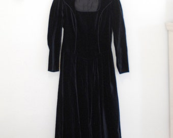 Dark Blue Velveteen Maxi Dress - 1980s - By Laura Ashley
