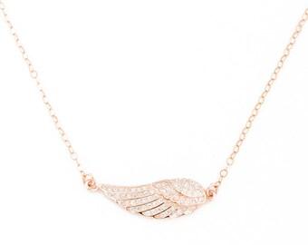 Engel vleugel ketting met Rose Gold Necklace, engel halsketting, Wing ketting, bruidsmeisje Gift, gelaagde ketting, | 0246NM