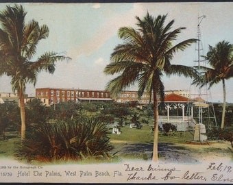 The Palms, West Palm Beach, Florida 1908, Antique Postcard, Hotel