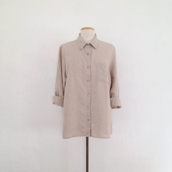 vintage linen shirt womens linen button up shirt collared