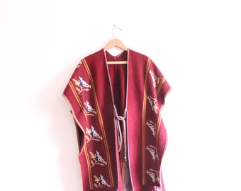 Vintage Mexican Bird Knit Poncho
