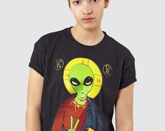 Alien Jesus Funny Atheist T-shirt