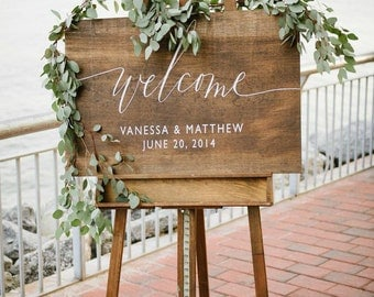 Wooden Wedding Welcome Sign with Names and Date  | Rustic Wedding Welcome Signage | Wood Wedding Welcome Signs | Wedding Decor - WS-16