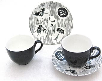 MidCentury British Design Icon -Vintage HOMEMAKER by Ridgway  - CUP and SAUCER - Modernist furniture & Homeware