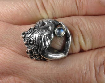 Mermaid Ring - Moonstone Ring - Art Nouveau Style - Sterling Silver Ring - Fairy Tale Ring - Fairytale Ring - Fantasy Ring - Undine - Naiad
