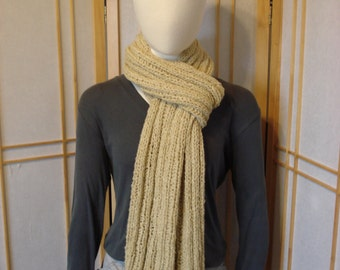 Soft Tan/Gold Ribbed Scarf