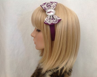 A Series of unfortunate events Violet Baudelaire headband bow purple with lace hair accessory cosplay