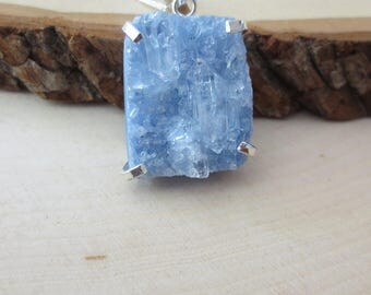 Blue crystal druzy sterling silver necklace, druzy pendant necklace, blue druzy pendant