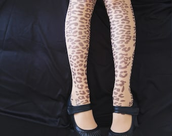New Leopard Tattoo  Tights, Semi-sheer Printed tights, Pantyhose, Stocking, Animal print