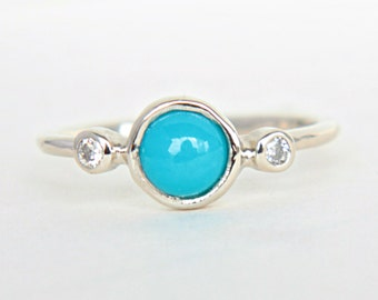 Turquoise and Diamond White Gold Ring 14k Yellow White Rose Gold Natural Turquoise Diamond Gold Ringe White Gold Turquoise Engagement Ring