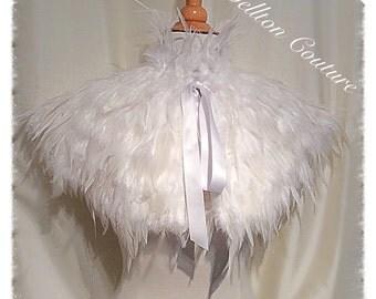 Feather Cape Capelet Victorian Bridal White