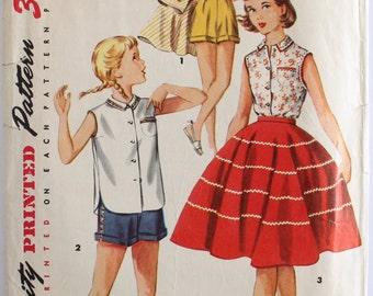 Girls Sewing Pattern Vintage 1950s Girls Circle Skirt, Shorts, and Button-Up Blouse Sewing Pattern Size 7 Simplicity 1146
