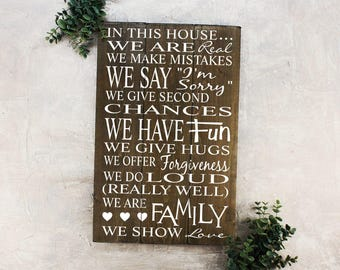 Family Rules Sign Wood In This House Sign