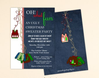 Christmas Ugly Sweater Party Invitation, Holiday Party, Holiday Ugly Sweater Party, Christmas Invite C1502