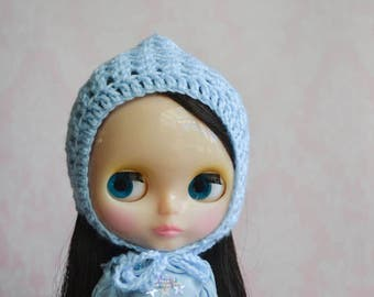 Handmade Crocheted Pixie Hat for Blythe - Acrylic Yarn - Blue
