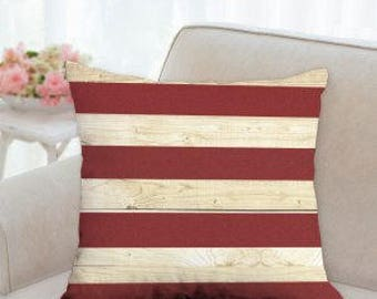 4th of July Red and White Striped Pillow