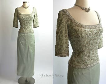 """BRITISH CROWN COLONY of Hong Kong 1960's Vintage Light Blue Silk Satin Heavily Beaded Evening Gown 31"""" Waist Medium Large"""