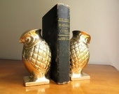 Vintage Brass Owl Bookends, Brass Bookends, Gold Owl Figurines, Hollywood Regency, Large Heavy Brass Owls
