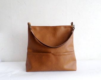 Leather tote bag, Vegan leather hobo bag with real leather handle, Casual shoulder bucket bag, Toffee brown bag, Honey brown bag, Cognac bag