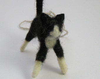 Cat Ornament, Hand felted Black and White Cat Ornament, Tuxedo Kitty Wool Decoration, Cat Lover's Gift
