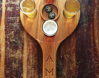 Round Wooden Beer Tasting Tray with 4 Glasses