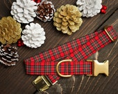 Plaid Christmas Dog Collar, Red green Plaid, Dog Lover Gift, Pet Collar, Dog Stocking Stuffer, Rescue Dog Collar, Puppy Collar, Female, Male