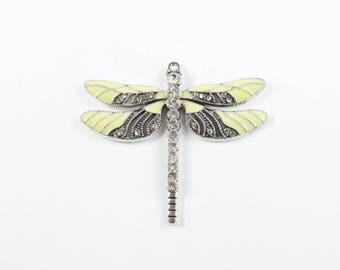 Silver Dragonfly Enamel Charm - 1 piece (201E)