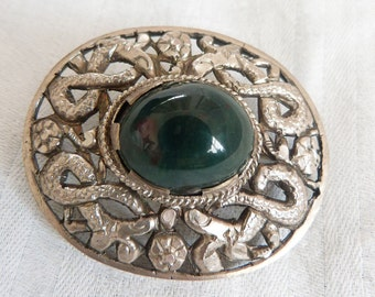 A Vintage Indian Silver and Green Agate Brooch