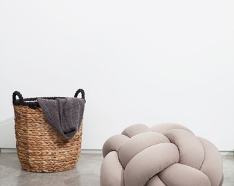 Medium Knot floor Cushion in Light beige ,Knot Floor Pillow pouf, Modern pouf, cushion, pouf ottoman, Meditation Pillow,