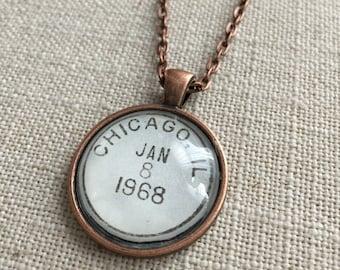 Postmark Necklace - Chicago, Illinois - Hometown, University of Chicago, Northwestern